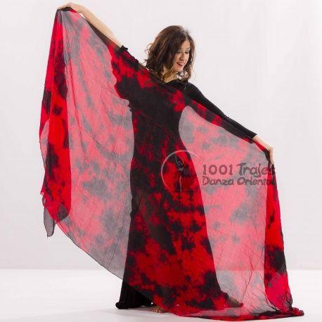 Velos Seda Tie Dye Rojo Negro